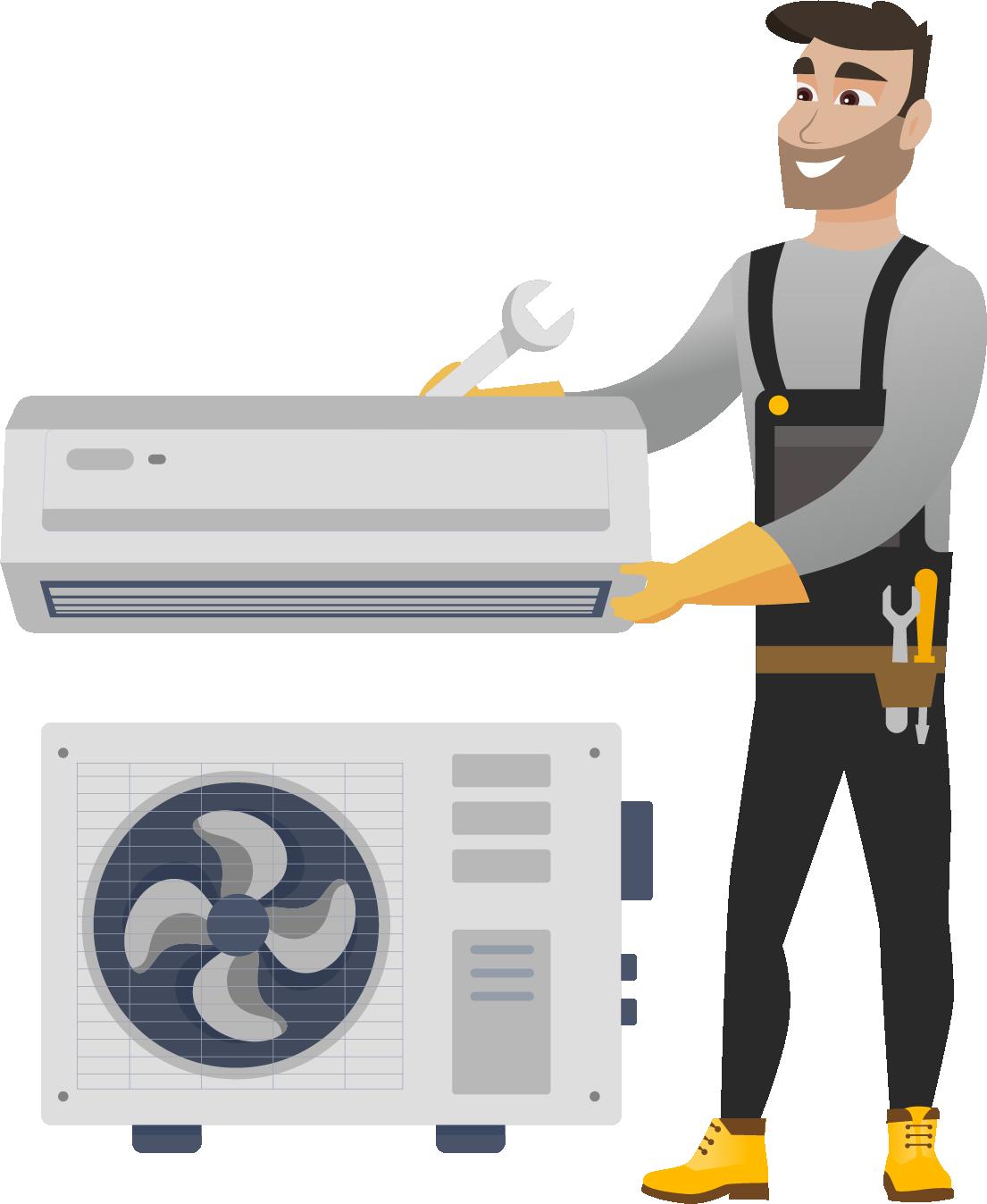 Instalarea Standard a aparatului de aer conditionat 12000 BTU (de la 3,1 la 4,1 kW)